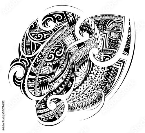Maori style tribal tattoo shape