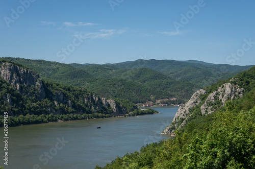 In de dag Blauwe jeans Danube border between Romania and Serbia. Landscape in the Danube Gorges.The narrowest part of the Gorge on the Danube between Serbia and Romania, also known as the Iron Gate.