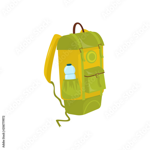 Green-yellow backpack with bottle of water in pocket  Hiking