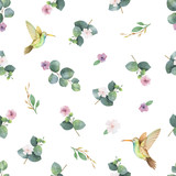 Watercolor vector seamless pattern with silver dollar eucalyptus leaves, flowers and hummingbird. - 206780127