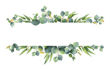 Watercolor Vector Green Floral...