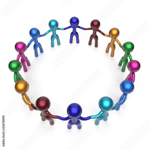Teamwork men, people circle, social network, individuality