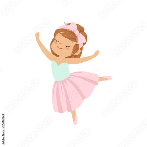Cute ballerina girl in pink dress dancing vector Illustration on a white backgro Canvas Print