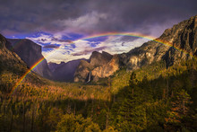 Double Rainbow Over Tunnel View In Yosemite National Park