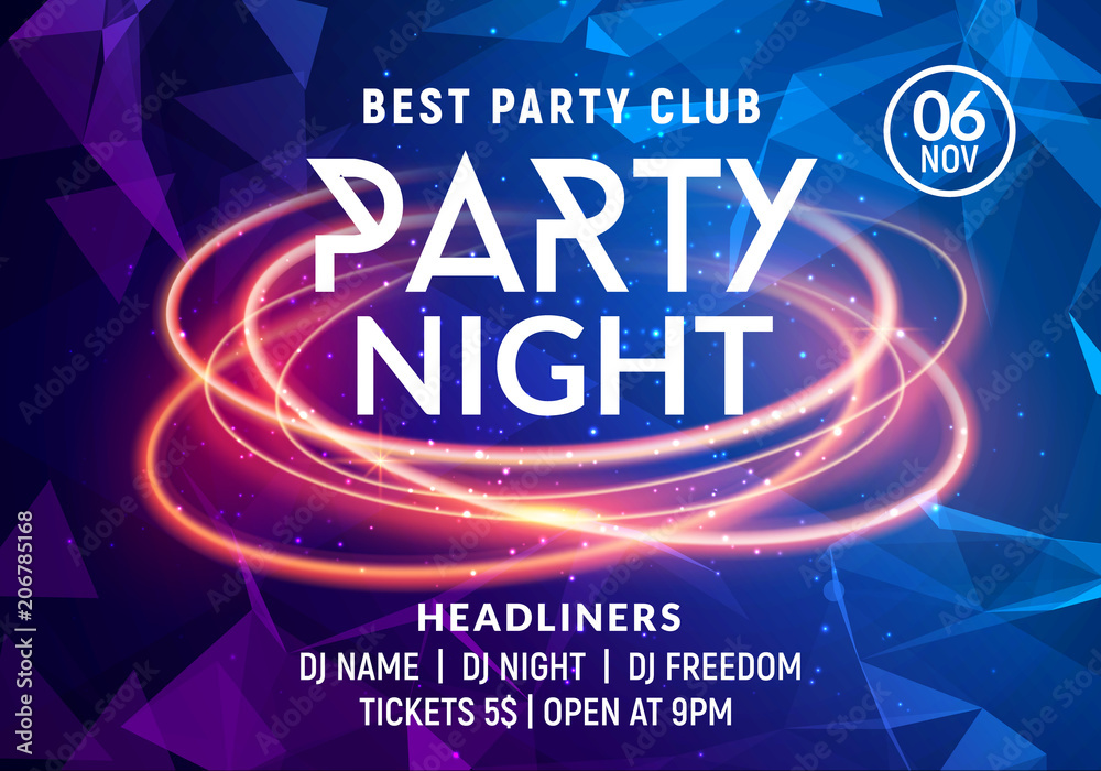 Fototapeta Night dance party music night poster template. Electro style concert disco club party event flyer invitation