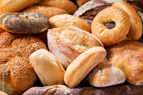 Keuken foto achterwand Bakkerij various types of fresh bread as background