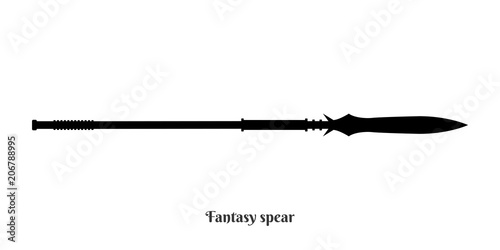 Fotografía Black silhouettes of medieval knight spear on white background