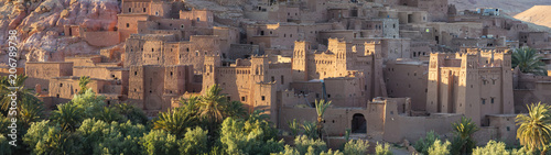 Poster Maroc panorama of old city in fort in Morocco