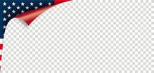 Scrolled Corner USA Flag Paper Cover Transparent