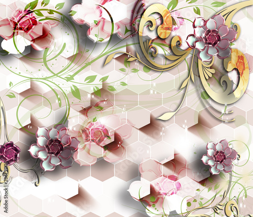 3d-flowers-abstraction-wallpaper-for-walls