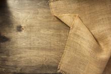 Burlap Hessian On Wooden Backg...