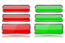 Red And Green Glass Buttons Wi...