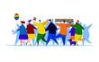 Love parade. Gay pride. Flat editable vector illustration, clip art
