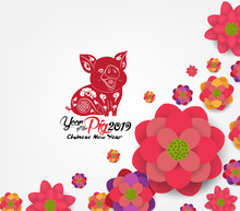 Chinese New Year 2019 - Plum Blossom Background. Year Of The Pig