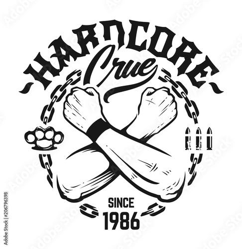 Hardcore Emblem Vector Art Fototapeta