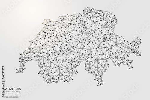 A map of Switzerland consisting of 3D triangles, lines, points, and connections Billede på lærred