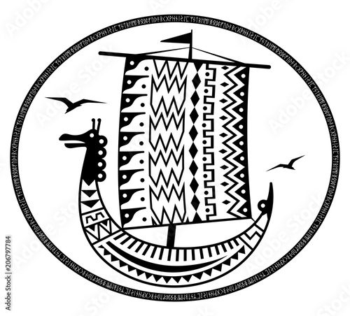 An ancient Scandinavian image of a Viking ship decorated with an ancient pattern Fototapet