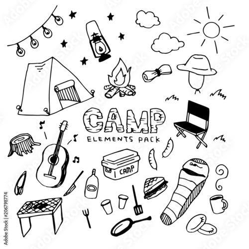 Cuadros en Lienzo Camp Illustration Pack