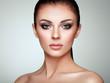Leinwandbild Motiv Beautiful Young Woman with Clean Fresh Skin. Perfect Makeup. Beauty Fashion. Eyelashes. Cosmetic Eyeshadow. Highlighting. Cosmetology, Beauty and Spa
