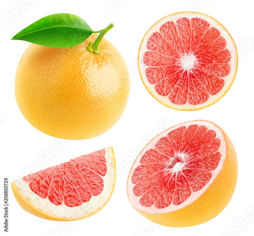 Isolated grapefruits. Collection of whole and cut fresh grapefruits isolated on white background with clipping path