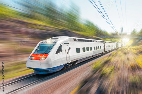 Fotomural  High-speed electric train with motion blur