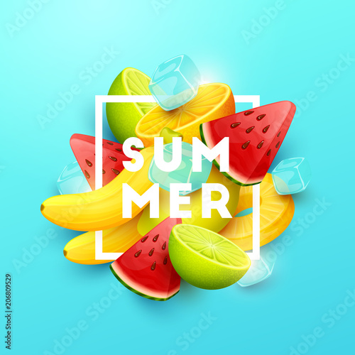 Summer background with fruits. Vector illustration. - 206809529