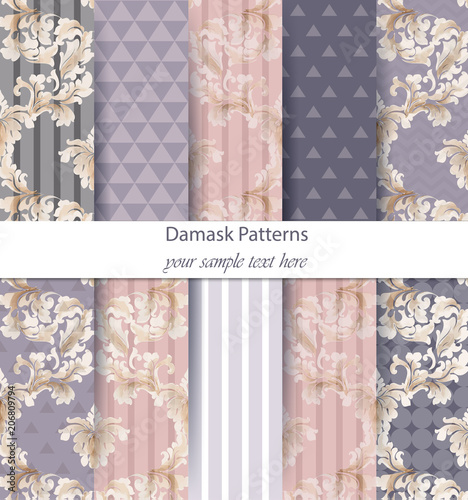 Damask patterns set collection Vector. Baroque ornament on modern abstract background. Vintage decor. Trendy color fabric textures