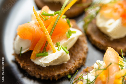 Foto op Aluminium Voorgerecht Norwegian Smoked Salmon Canapés with Cream Cheese