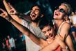 Leinwandbild Motiv Happy friends having fun at music festival