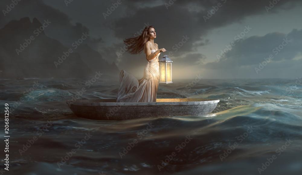 Fototapeta Frau mit Laterne in Ruderboot