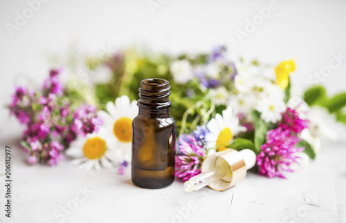 Fotografie, Obraz  Essential oil with medicinal plants and flowers