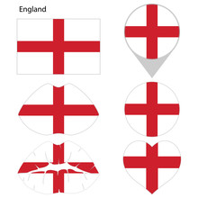 Flag Of The England, Set. Correct Proportions, Lips, Imprint Of Kiss, Map Pointer, Heart, Icon. Abstract Concept. Vector Illustration On White Background.