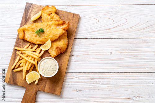 fish and chips with french fries Fototapeta