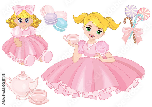 Poster Castle Toddler girl playing tea party with a doll