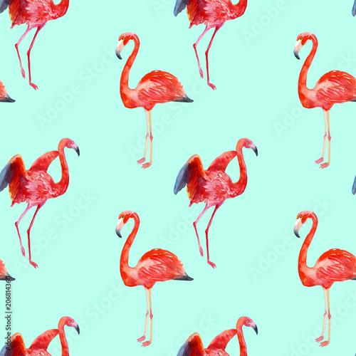 Canvas Prints Flamingo Bird Watercolor seamless flamingos