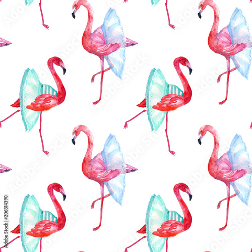 Canvas Prints Flamingo Flamingos ballet dancers, seamless pattern