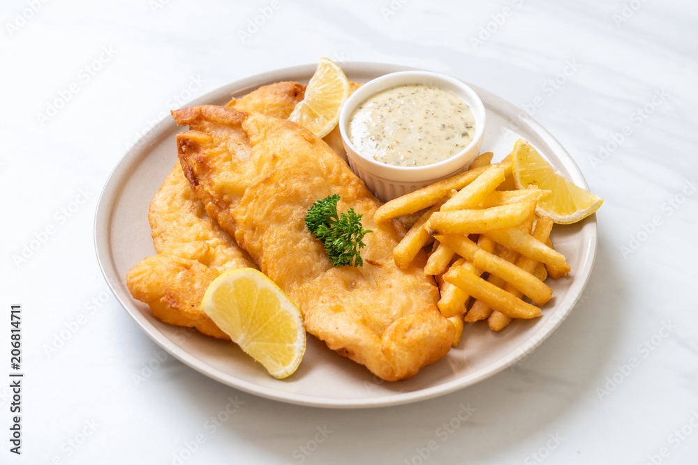 Fototapeta fish and chips with french fries