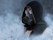 3D Rendering Of A Dystopian Man Wearing Gas Mask.