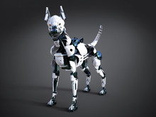 3D Rendering Of A Futuristic Robot Dog.