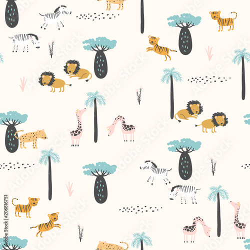 wzor-dzieciecy-w-zwierzeta-safari-na-bialym-tle