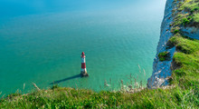 Beachy Head Lighthouse, Near Eastbourne In East Sussex, England