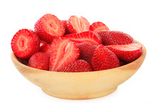 Strawberries In Wooden Cup Isolated