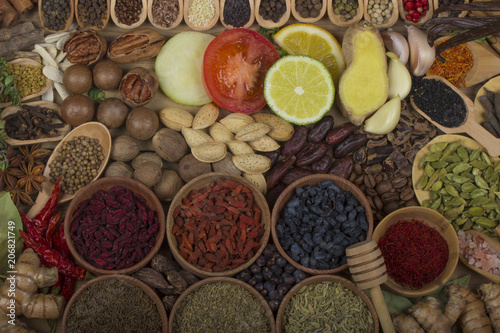 Aluminium Prints set of spices backgrounds