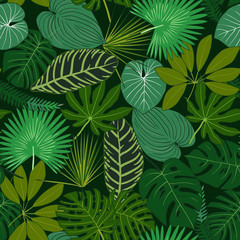 Panel Szklany Do kawiarni Green Tropical leaves, night jungle. Seamless, detailed, botanical pattern. Vector background.