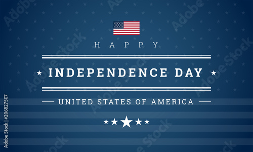 Photo  Happy Independence Day USA blue background with the United States flag vectro