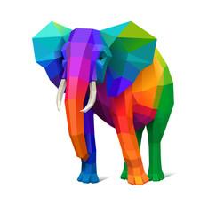 Low poly wielobarwny słoń, pojęcie siły, eps10 wektor