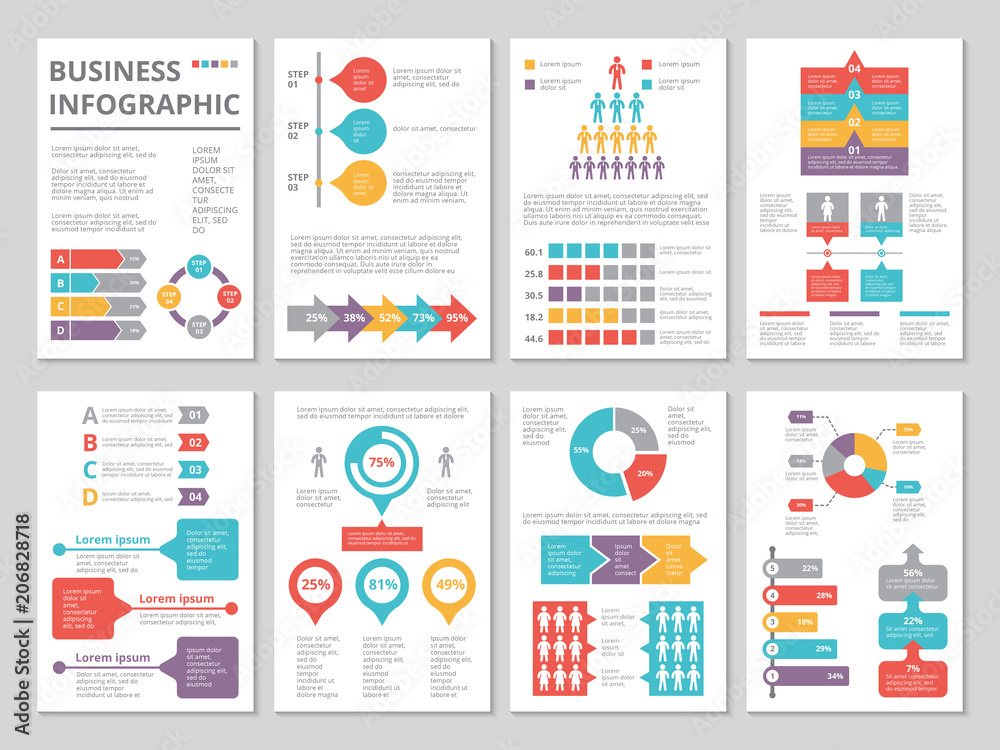 Fototapeta Design project of business annual report with infographic pictures