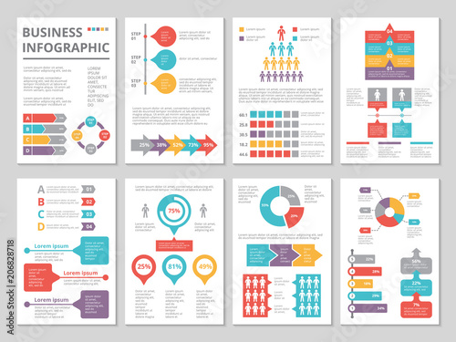 Foto  Design project of business annual report with infographic pictures