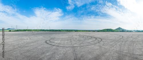 Empty asphalt square road under the blue sky,panoramic view Fototapet