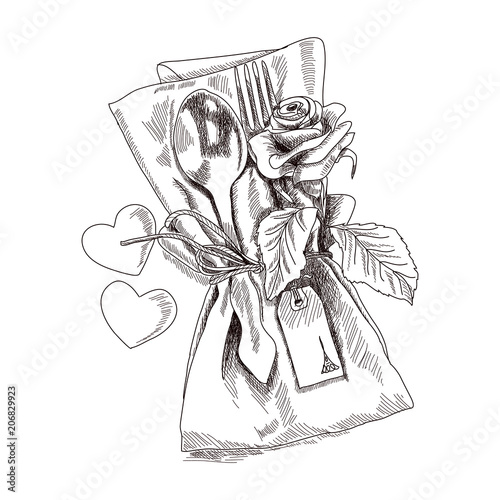 Concept Of Serving The Holiday Table Beautifully Composition Folded Napkin With Fork And Spoon The Composition Decorated With A Rose Flower Hand Drawn Sketch Vector Illustration Buy This Stock Vector And